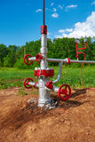Oil pipeline with the tap valve Royalty Free Stock Images