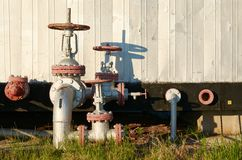 Oil pipeline with the tap valve Stock Images