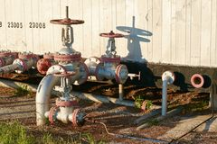 Oil pipeline with the tap valve Stock Image