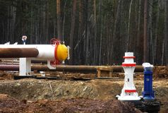Oil pipeline. Under construction in the forest stock photography