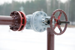 Oil pipeline valve Royalty Free Stock Photography