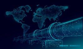 Oil pipeline world map business concept. Finance economy polygonal petrol production. Petroleum fuel industry. Transportation line connection dots blue vector stock illustration
