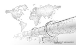 Oil pipeline world map business concept. Finance economy polygonal petrol production. Petroleum fuel industry. Transportation line connection dots white vector stock illustration