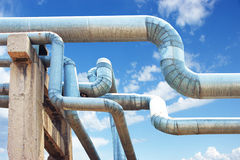 Oil pipelines and oil wells Royalty Free Stock Images