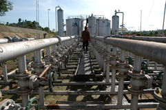 Oil pipes network. Oil pipes in oil field in Sangatta. Kalimantan, Indonesia Stock Image