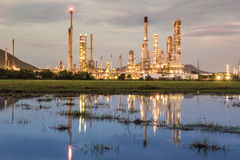 Oil plant power. Oil plant in sunset water gas Royalty Free Stock Photography