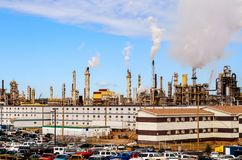 Oil Plant with smoking pipes Stock Image