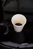 Oil and plastic cup royalty free stock photos