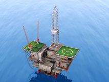 Oil platform. Lost the blue sea Royalty Free Stock Photo