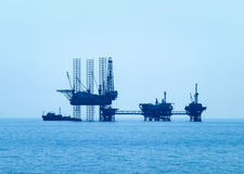 Oil platform in the Aegean Sea Royalty Free Stock Photo
