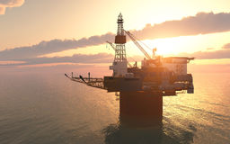 Oil platform against a sunny sky Royalty Free Stock Photo