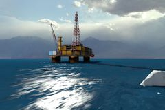 Oil Platform. In the Arctic Ocean, the oil production royalty free illustration