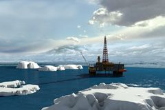 Oil platform in the Arctic Ocean. The oil production stock illustration
