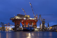 Oil platform. At bright night Royalty Free Stock Image