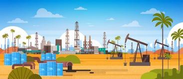 Oil Platform In Desert East Petrolium Production And Trade Concept. Flat Vector Illustration royalty free illustration