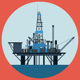 Oil platform flat vector illustration Royalty Free Stock Photo