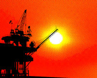 Oil platform halftone Royalty Free Stock Image