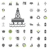 Oil Platform icon. Eco and Alternative Energy vector icon set. Energy source electricity power resource set vector. Oil Platform icon. Eco and Alternative Stock Photos