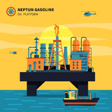Oil Platform Illustration. Oil platform for oil extraction with ship sea and helicopters flat vector illustration Royalty Free Stock Images