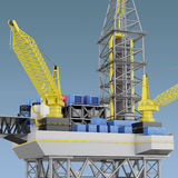 Oil platform, industry offshore, drill technology. 3d rendering Stock Photography