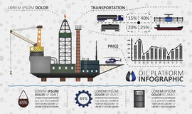 Oil platform infographic Royalty Free Stock Photography