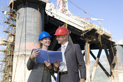 Oil platform inspectors Royalty Free Stock Photo