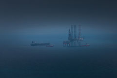 Oil platform. In a mist at the sea Royalty Free Stock Photo
