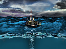 Oil platform. In the ocean vector illustration