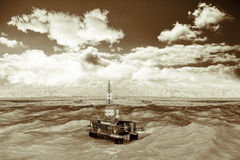 Oil platform in the ocean. The oil production royalty free illustration