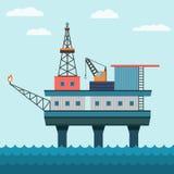 Oil Platform In The Ocean. Vector industrial flat illustration offshore oil platform in sea background. Helipad, crane, derrick, hull column Stock Photos