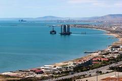 Oil platform off the Caspian sea coast near Baku, Azerbaijan.  royalty free stock photography