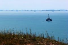Oil platform off the Caspian sea coast near Baku, Azerbaijan.  royalty free stock image