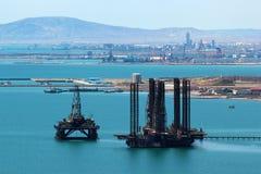 Oil platform off the Caspian sea coast near Baku, Azerbaijan.  stock photo