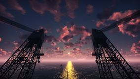 Oil platform, offshore platform, or offshore drilling rig in night sea at sunset. Realistic cinematic animation.