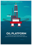 Oil Platform Poster. Sea. Oil exploration. Vector flat illustration. Stock Photo