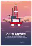 Oil Platform Poster. Sea. Oil exploration. Vector flat illustration. Stock Photos
