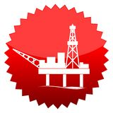 Oil platform, Red sun sign Stock Image