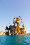 Oil platform, repair in the harbor Stock Photo