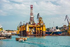 Oil platform in repair Stock Image