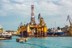 Oil platform in repair stock image