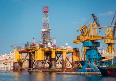 Oil platform in repair Royalty Free Stock Images