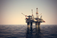 Oil platform on sea. Royalty Free Stock Image