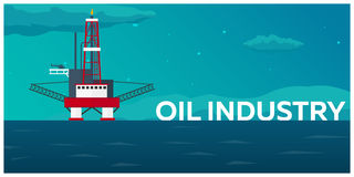 Oil Platform. Sea. Oil exploration. Vector flat illustration. Royalty Free Stock Photography