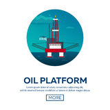 Oil Platform. Sea. Oil exploration. Vector flat illustration. Royalty Free Stock Photos