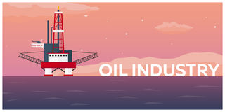 Oil Platform. Sea. Oil exploration. Vector flat illustration. Stock Images