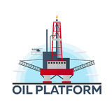 Oil Platform. Sea. Oil exploration. Vector flat illustration. Stock Photography