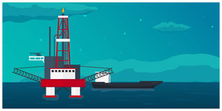 Oil Platform. Sea. Oil exploration. Vector flat illustration. Stock Photo