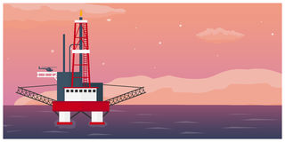 Oil Platform. Sea. Oil exploration. Vector flat illustration. Stock Image