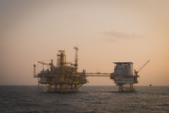 Oil platform. In the sea process old style Royalty Free Stock Photography