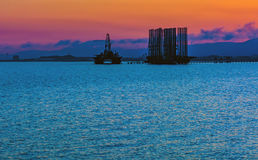 Oil platform in sea. Oil production royalty free stock photo